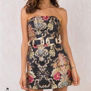 PRINCESS POLLY STRAPLESS FLORAL DRESS